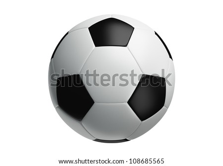 Isolated of soccer ball 3d rendering