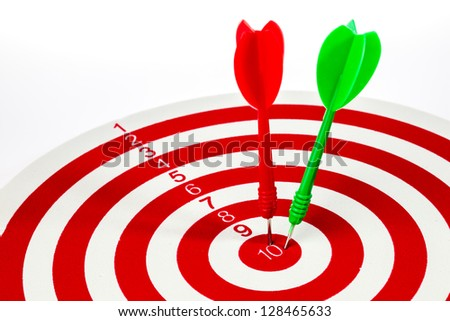 Isolated of the dart hit target on the white background