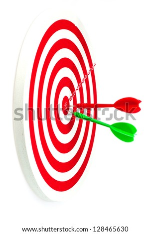 Isolated of the darts hit target on the white background