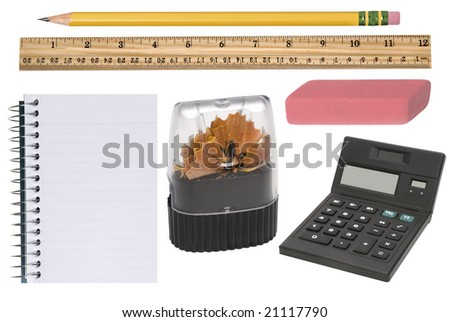 Isolated office supplies in new condition incluldes a freshly sharpened pencil, pencil sharpener, eraser, notepad and calculator.