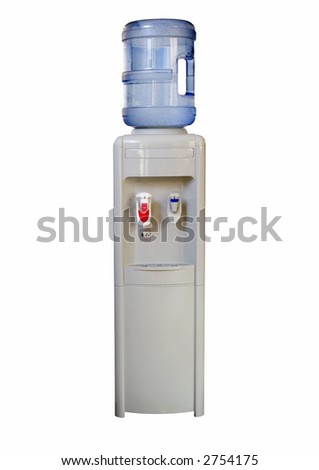 Isolated office water cooler on white, containing both hot and cold water outlets. Large container of natural spring water.