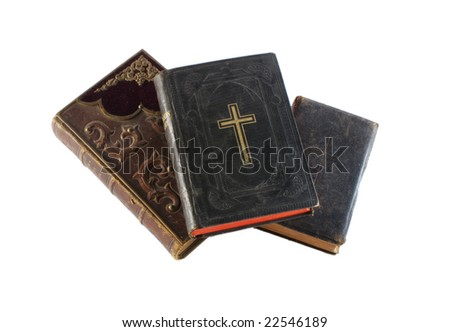 isolated old holy bibles