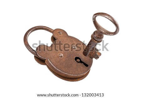 Isolated old key with padlock, ready to unlock.Clipping path included.