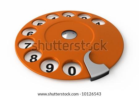 Isolated old orange analogue dialer.