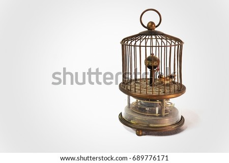 isolated old vintage bird cage...