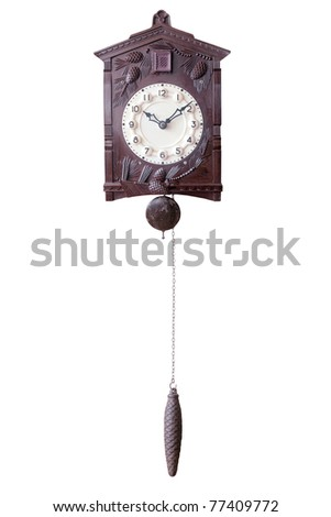 Isolated Old wall watch with cuckoo and weight