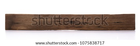 Isolated old wood board. Wooden beams. Sawn timber from Dipterocarpus wood.