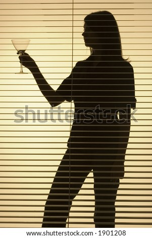 isolated on gold silhouette of woman with glass (blind)