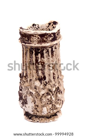 isolated on white ancient and broken vase