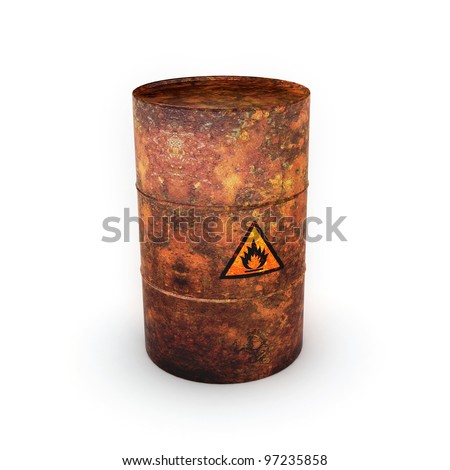 Isolated on white background oil barrel