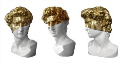 Isolated on white background plaster busts of Apollo in white and gold paint. A guide for historical and artistic creative work