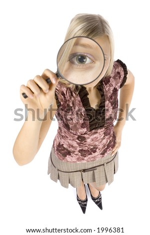 isolated on white headshot of young blonde woman with magnifying glass