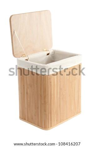 Isolated on white laundry basket made of bamboo