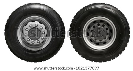 Isolated on white new front rear truck wheels on hub with black shine tires. New clean commercial transport truck mud all terrain wheels for front rear axles. High resolution commercial truck wheels #1021377097
