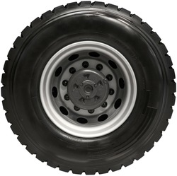 Isolated on white new rear truck wheel on hub with black shine tire. New clean tractor truck wheel tire. Wheel mud tire on rim on rear axle. High resolution truck wheel isolated