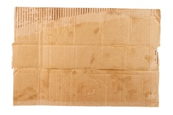 isolated on white sheet of blank dirty piece of cardboard - homless plackard mockup