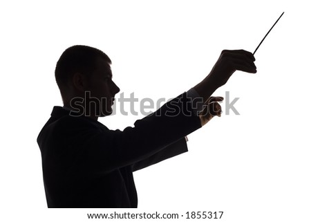 isolated on white silhouette of conductor