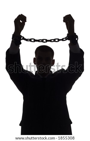 isolated on white silhouette of man with chains
