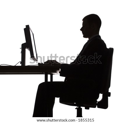 isolated on white silhouette of man working computer