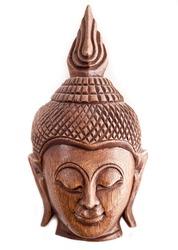 Isolated on white Thai wooden Buddha mask