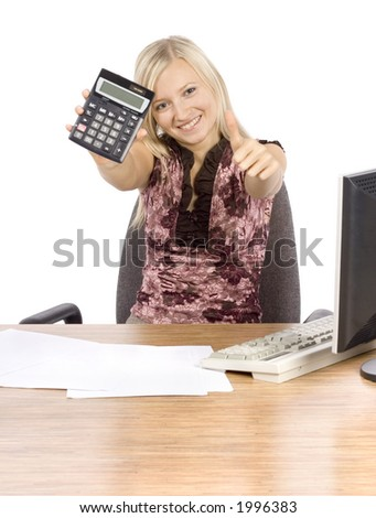 isolated on white young blonde woman with in the office with calculator