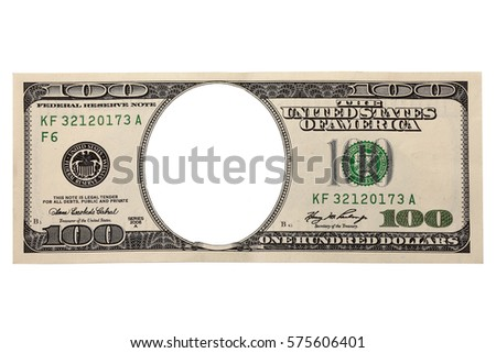 Isolated One Hundred Dollars Bill without face