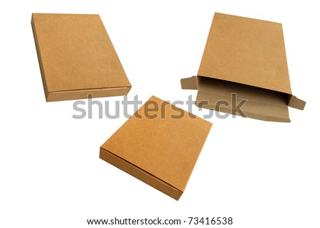 Isolated open and close corrugated kraft paper box - stock photo