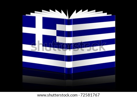 isolated open book depicting Flag of Greece