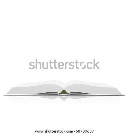 Isolated open book on white background