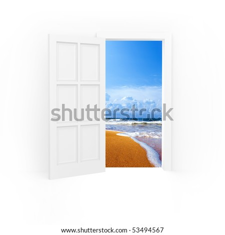 Isolated open door to beach and blue sea.
