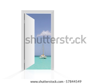 Isolated open door to beach with tropical sea and boat