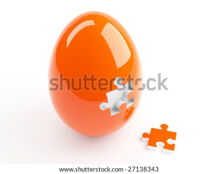 Isolated Orange Easter Egg and Jigsaw Puzzle