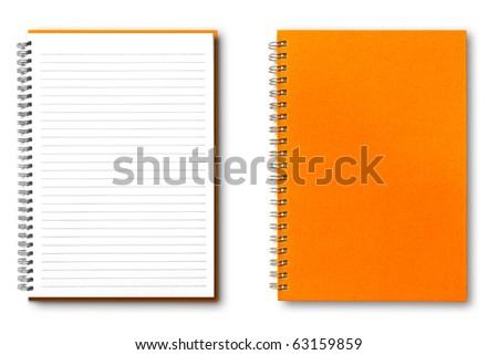 isolated orange notebook on white.