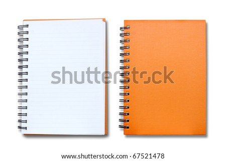 isolated orange notebook on white background