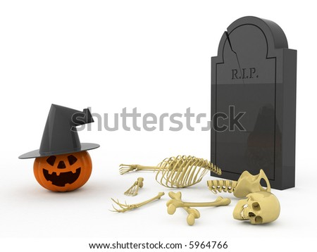 Isolated orange pumpkin. Bones. Gravestone.