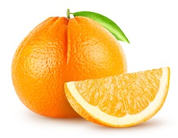 Isolated oranges. Whole single orange fruit with leaf and piece isolated on white background with clipping path