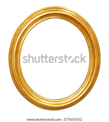 isolated oval golden frame