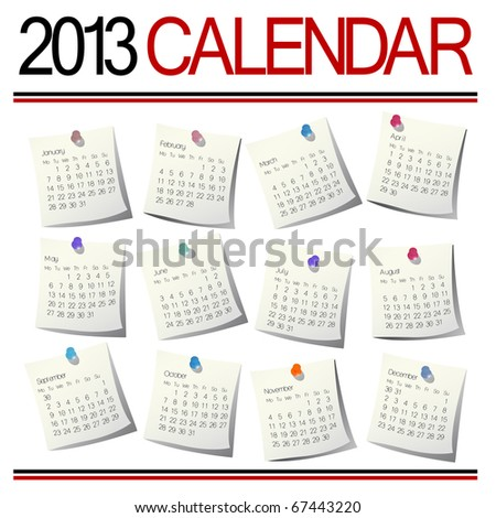 Isolated over white calendar months for year 2013