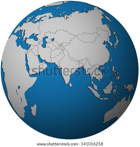 isolated over white territories of asian countries with flags on globe map
