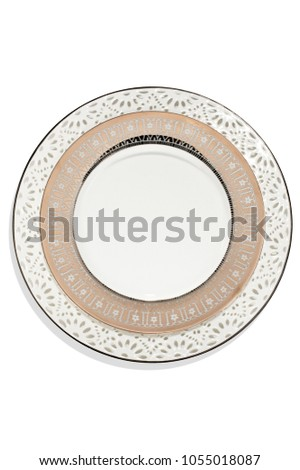 isolated overhead decorative plate #1055018087