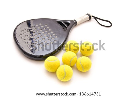 Isolated paddle tennis objects.
