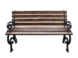 Isolated Park Bench on white background.