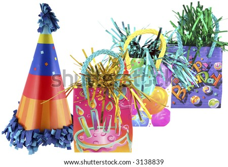 Isolated party bags and cute birthday party hat