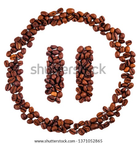 Isolated pause command made of coffee beans. Illustrating concept of coffee as pause/play button in life.