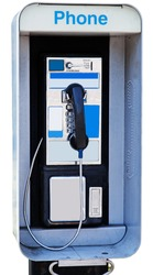 Isolated payphone. Vertical.