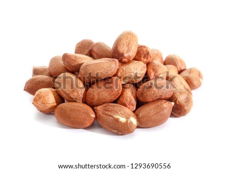 Isolated peanut. Walnut purified on a white background. Protein food. Raw peanuts.