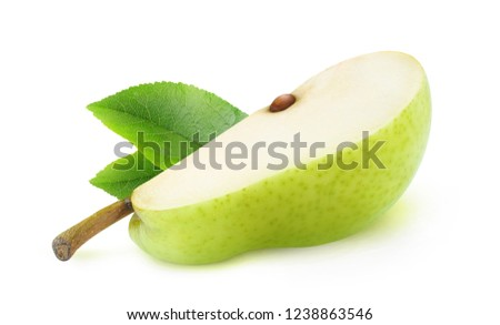 Isolated pear. One piece of green pear fruit isolated on white background with clipping path