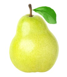 Isolated pear with leaf, clipping path