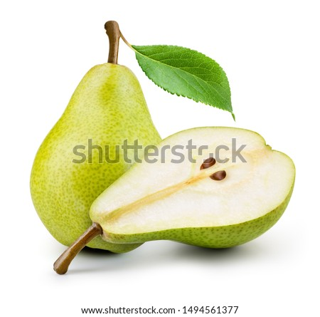 Isolated pears. One and a half green pear fruit isolated on white background.