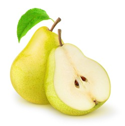 Isolated pears. One and a half of yellow pear fruits isolated on white background